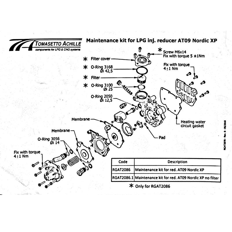 Оригинальный ремкомплект редуктора Tomasetto AT09 Nordic XP (полный)